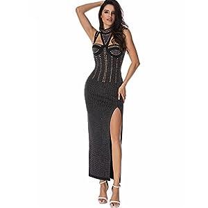 whoinshop High Neck Sleeveless Maxi Beaded Side Slit Sexy Bodycon Dress