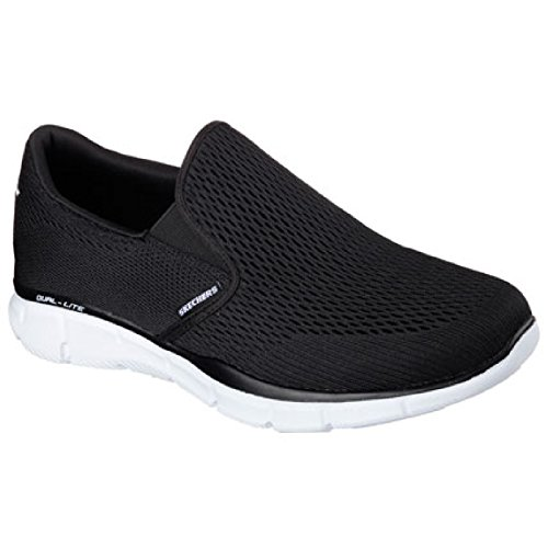 Skechers Mens Equalizer Double Play Slip On Memory Foam Shoes Black/White qfZzt