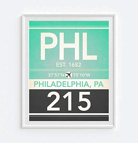 Philadelphia Pennsylvania PHL 215 Vintage A, irport Area Code Map Coordinates Subway Art Print, UNFRAMED, Christmas - Housewarming gift home decor poster, ()