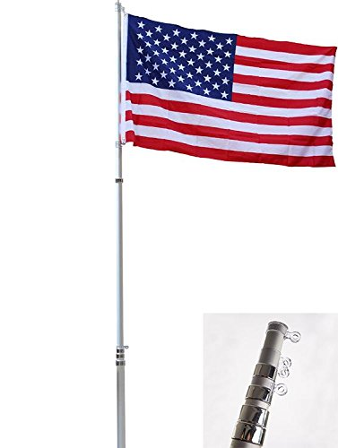 Free 16' Chain - 16FT Flag Pole Kit Telescopic Aluminum Flagpole US Flag Ball Fly 2 Flags F