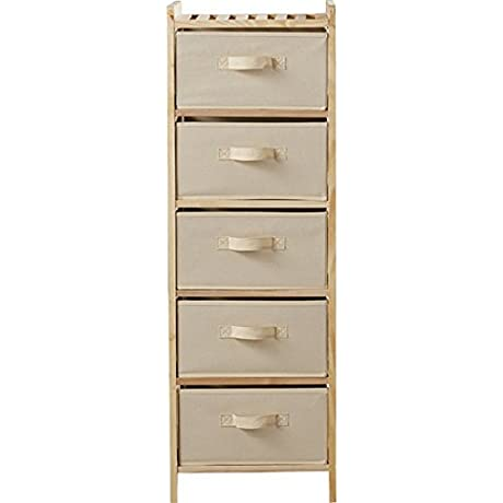 Stylish Aubree 5 Tier Bathroom Shelf With 5 Collapsible Fabric Drawers Beige Finish 14 5 X40 25 1