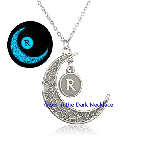 Glow In The Dark Orb Necklace Glow Moon Necklace,Glow Moon R Necklace Initial