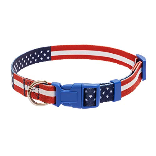 Mihachi American Flag Dog Collar - Star Striped Flag Pattern Nylon Adjustable for Small to Medium Size Dogs