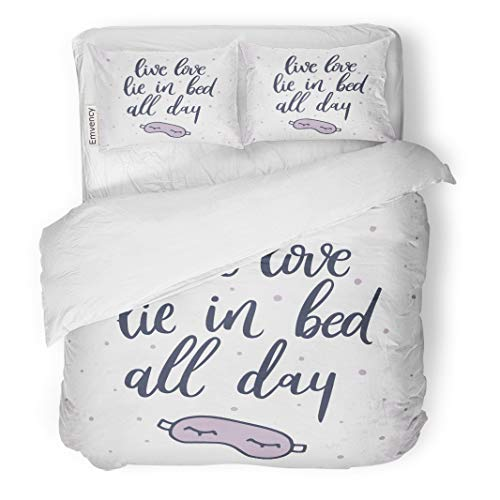 Semtomn Decor Duvet Cover Set King Size Live Love Lie in All Day Quote About Sleep Sleeping Mask Unique Lettering Stationery 3 Piece Brushed Microfiber Fabric Print Bedding Set Cover -