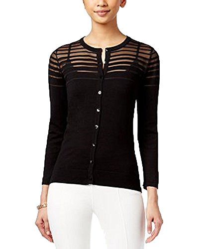 -Striped Cardigan (Black Ilussion, S) (Silk Striped Sweater)