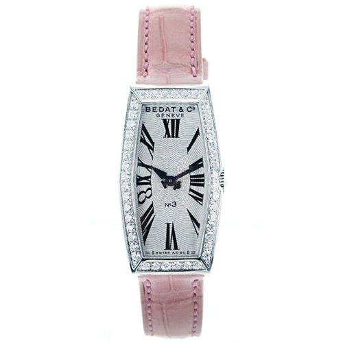 Bedat Women's 386.030.600 No. 3 Steel Case Pink Leather Roman Dial Watch