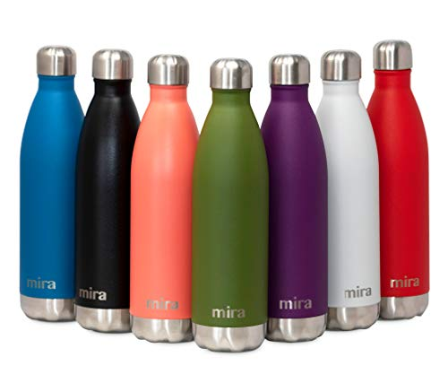 MIRA Insulated Stainless Steel Water Bottle | Vacuum Insulated Cola Shape Thermos Flask | Keeps Water Stay Cold for 24 Hours, Hot for 12 Hours | Metal Bottle BPA-Free Cap | Olive Green | 25 oz