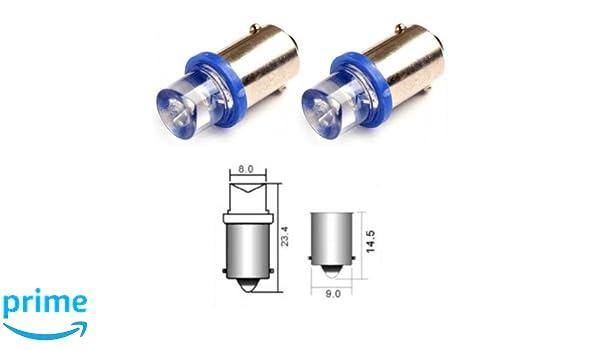B9B - Azul SMD LED lámpara bombilla de repuesto luces de posición T4W BA9S 12V Numero de luz de la placa Interior de luz del coche (Invertida): Amazon.es: ...