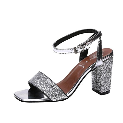 Fit Toe Size Strappy Lolittas 7 for Sandals Summer Women Embellished ,High Sparkly Sliver Heel Silver 2 Court Evening Block Open Slingback Ankle Wide Glitter Shoes PPTq4Z