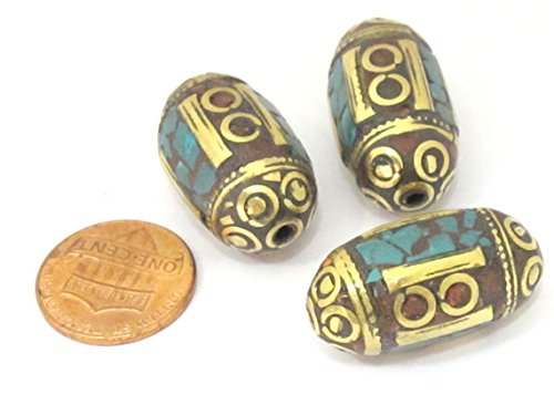 1 BEAD - Thick Tibetan brass beads with turquoise coral inlay from Nepal - BD835 ()