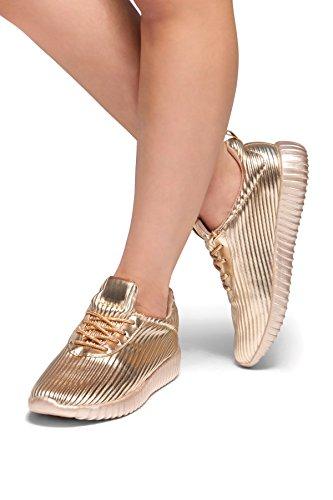 Tallone Piatto Metallico Korriee Delle Sue Donne, Dettaglio Metallico, Allacciatura Anteriore, Creepers Moda Flatform, Sneakers Basse Rose Gld