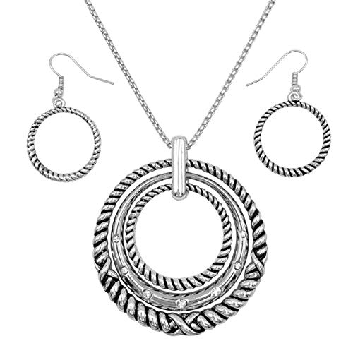 Gypsy Jewels 3 Ring Pendant Statement Necklace & Earring Set - Assorted Colors (Silver Tone Ribbed)