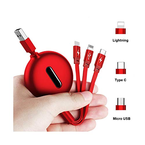 4ft Retractable USB Charging Fast Cable, 3 in 1 Micro USB Type C Multi Charger Cord Compatible for All Phones Samsung, Moto, BlackBerry, Nokia, LG, Phone X 8 7 6s 6 Plus 5s 5 (Red) ()