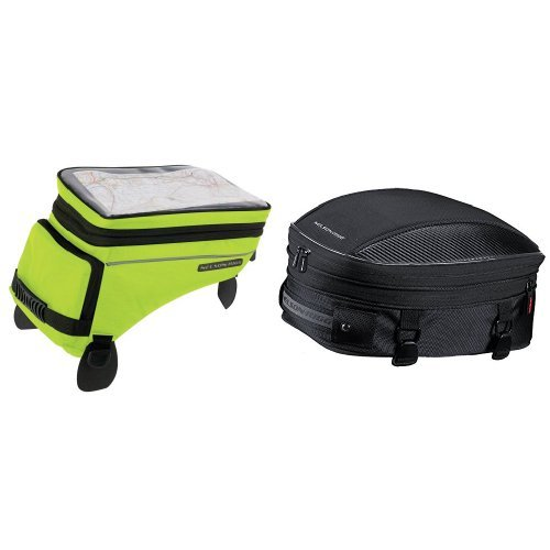 Nelson-Rigg (CL-1055 Hi-Visibility Yellow Adventure Touring Tank Bag and CL-1060-S Black Sport Tail/Seat Pack Bundle ()