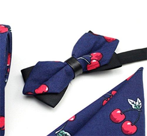 Set Bowtie 3Pcs Casual Pattern Dark Blue Men Tie Fattonny Daily Cherry Set Handkerchief Set Necktie Ties aqBzw0x