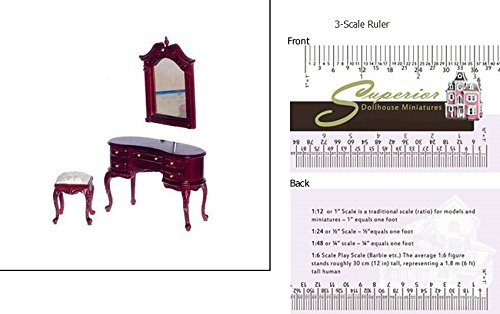 (Town Square Platinum Collection Dollhouse Miniature Queen Anne Dressing Table w/Mirror & Bench)