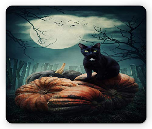 Lunarable Halloween Cat Mouse Pad, Horror Night Illustration with Kitty on Old Grunge Pumpkins Haunted Scene, Standard Size Rectangle Non-Slip Rubber Mousepad, -