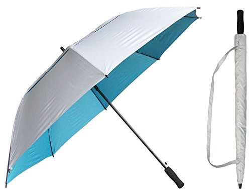 (60 inch Silver & Light Blue Golf Umbrella - Vented Double-Canopy - Auto Open Button - Fiberglass Shaft and Frame - Windproof Stick Umbrellas)
