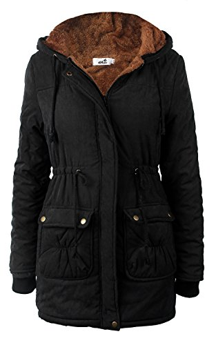 4How Women's Hooded Warm Coats Parkas with Fleece Lining Jackets Black(drawstrings Hood)