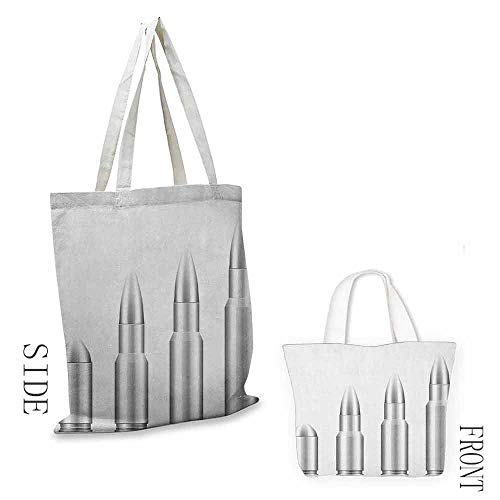 zojihouse Silver Daily Wallet Handbag Set of Bullets from Small to Big Military Ammunition Weapon Shotgun Firearm Defense W13.5xL16Gray White