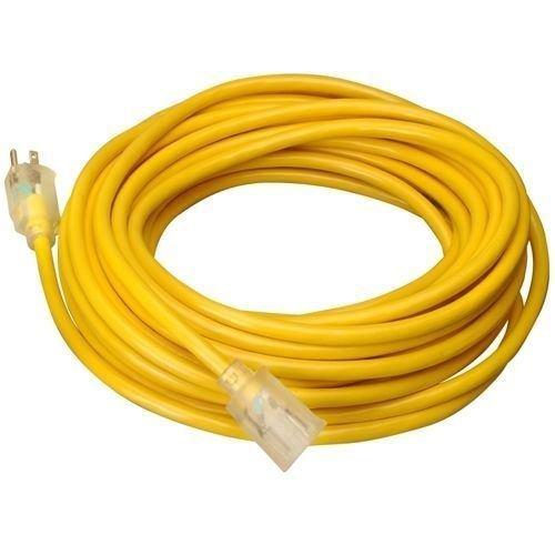 The Best 15 FT 14 Gauge Indoor Outdoor Heavy Duty Power Extension Cord Yellow UL w/ Light
