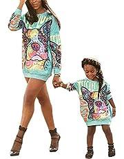 Loalirando Mommy and Me Matching Cartoon Printed Pullover Shirt Jurk Lange Mouw Familie Bijpassende Een Stuk Herfst Winter Sweatshirt Outfits