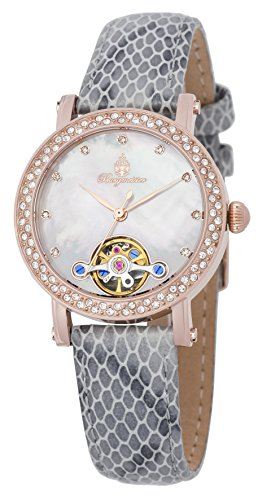 Burgmeister Women's ' Automatic Stainless Steel and Leather Casual Watch, Color:Grey (Model: BM538-380)
