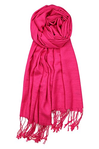 Achillea Bamboo Rayon Feel Soft Silky Pashmina Solid Shawl Wrap Scarf (Hot (Hot Pink Pashmina Scarf)