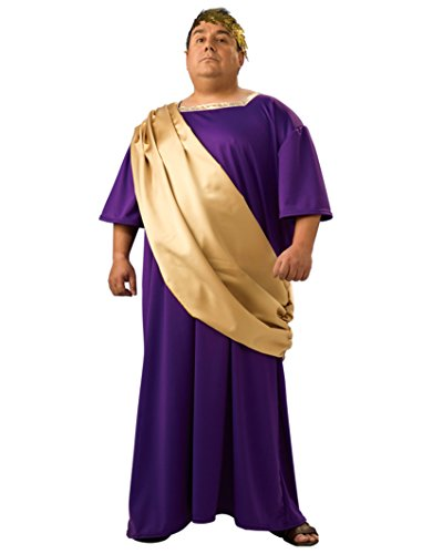 Caesar Costume Rome Greek Toga Robe Purple and Gold Theatrical Mens Costume (Greek Philosopher Costume)