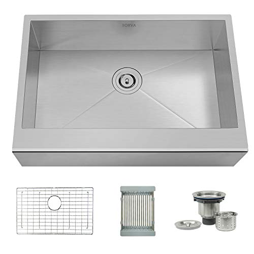 TORVA 30-inch Apron Front Farmhouse Kitchen Sink Single Bowl 16 Gauge Stainless Steel Flat Front