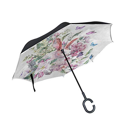 (All agree Reverse Umbrella Floral Print Butterfly Rabbit Easter Inverted Umbrella Reversible for Golf Car Travel Rain Outdoor Black)