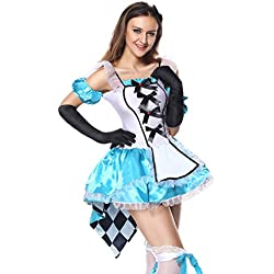 Sibeawen Women's Deluxe Fantasy Alice in Wonderland Plus Size Costumes Blue Large