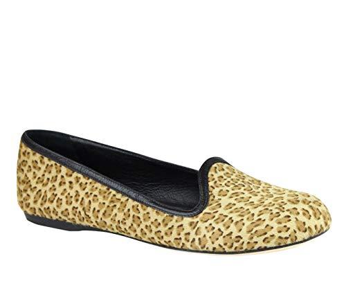 Bottega Veneta Women's Leather/Pony Hair Cheetah Print Flats 338267 8465 (G 39 / US 9)