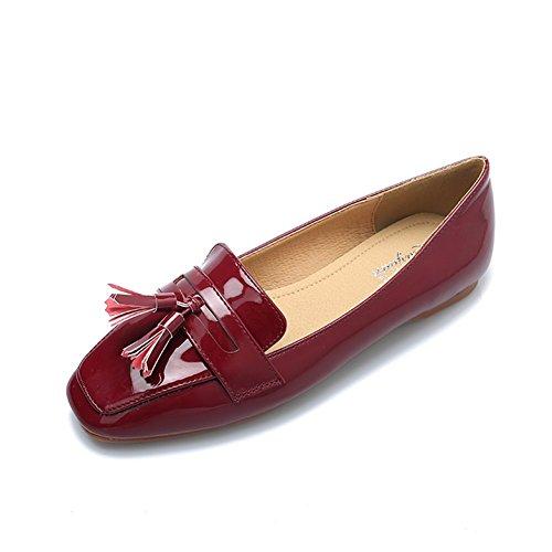 Zapatos de Mujer de Primavera y Verano nuevos Zapatos de Cabeza Cuadrada Zapatos de Guisantes de Moda Ocasionales Inferiores Planas Zapatos de Mujer Negro Vino Rojo B