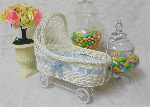 11 1/2'' Wicker Baby Boy Carriage - Baby Shower Centerpiece 12 Pieces by JenlyFavors