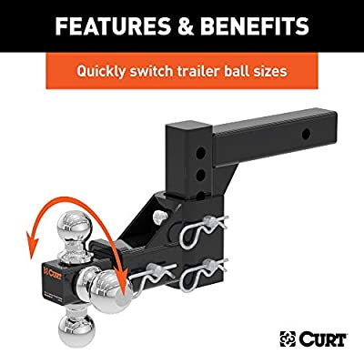 CURT 45799 Adjustable Trailer Hitch Ball Mount, Fits 2-Inch Receiver, 5-3/4-Inch Drop, 5-3/4-Inch Rise, 1-7/8, 2 and 2-5/16-Inch Hitch Balls, 6,000, 7,500 or 10,000 lbs. GTW,Black: Automotive