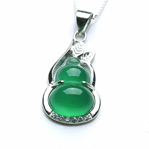 shoushi Green Jade Gourd Pendant Female Silver Chalcedony Pendant Jewelry,green,One size