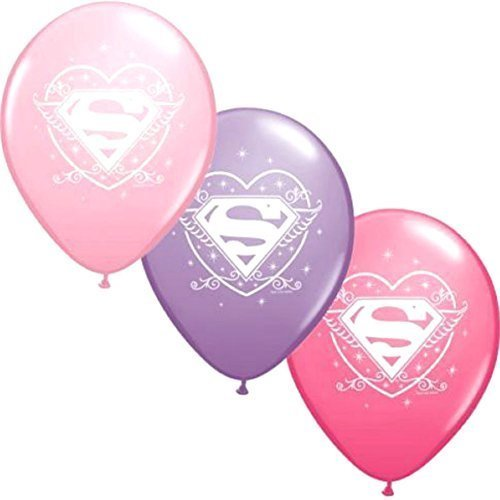 "Custom, Fun & Cool {Big Large 12"" Inch} 6 Pack of Helium & Air Latex Rubber Balloons w/ Supergirl Confetti Sparkle Design [Variety Assorted Multicolor in: Pink, Purple & Rose -"