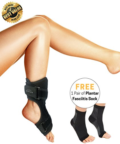 Vriksasana Plantar Fasciitis Dorsal Night Splint for Men & Women | Treatment for Heel Pain, Drop Foot and Achilles Tendonitis | Bonus Compression Socks/Foot Sleeves with Arch Support (L/XL)