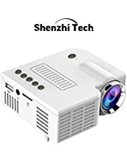 Mini Projector 1080P Portable LED Projector Supported Video Projector Compatible with TF, AV, USB for Home Theater (White)