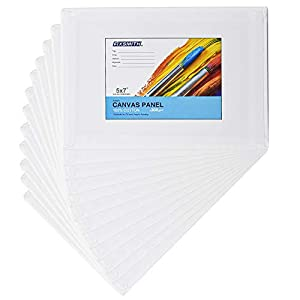 FIXSMITH Painting Canvas Panel Boards – 5×7 Inch Art Canvas,12 Pack Mini Canvases,Primed Canvas Panels,100% Cotton,Acid Free,Professional Quality Artist Canvas Board for Hobby Painters,Students & Kids