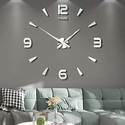 Vangold DIY Reloj de pared sin marco espejo grande 3D Sticker-2 anos de garantia (Plata-73)