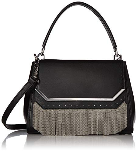 (Calvin Klein Tessie Calf Split Leather Top Handle Cain Flap Over Satchel, black/silver chain )