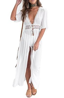 SUNSIOM Women's Chiffon Kimono Cardigan Lace Long Maxi Beach Dress Bikini Covers Up