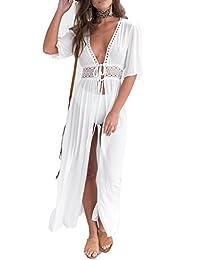 SUNSIOM Vestido Largo de Playa Largo con Estampado de Encaje Estilo Kimono Cardigan de Mujer Bikini Cubre para Arriba