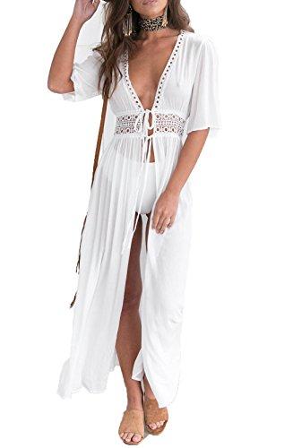 fon Kimono Cardigan Lace Long Maxi Beach Dress Bikini Covers Up(White,Fits Large) (Power Lace)