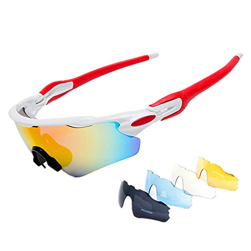 Cuzaekii 5 Lenses Polarized Cycling Glasses UV400 Outdoor Sports Sunglasses for Men Women (White - Mtb Sunglasses