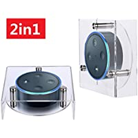 Greenpointselect 2 in 1 (Vertical or Horizontal) Acrylic Speaker Stand for Amazon Echo Dot (2nd Generation) Smart Home Décor Guard Station For Alexa (Clear)