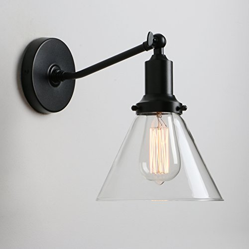 Vanity Glass Shade - Permo Industrial Vintage Slope Pole Wall Mount Single Sconce with Funnel Flared Clear Glass Shade Wall Sconce Light Lamp fixture (Black)