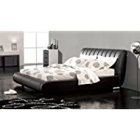 Dior Leather Contemporary Platform Cal King Bed- Black